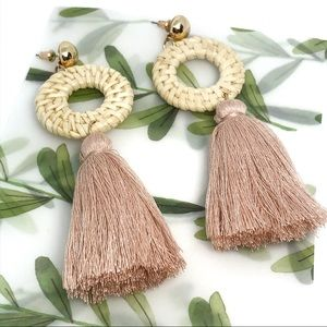 Blush Bohemian Earrings Rattan hoop yarn tassel